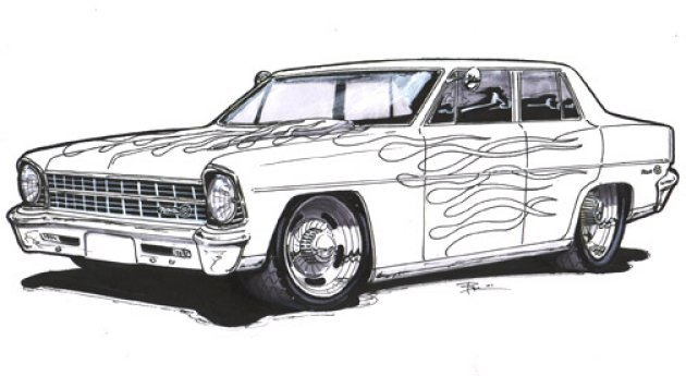 57 chevy cartoon art